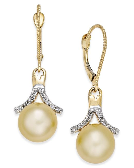 Macy's | Metallic Cultured Golden South Sea Pearl (9mm) And Diamond (1/5 Ct. T.w.) Drop Earrings In 14k Gold | Lyst