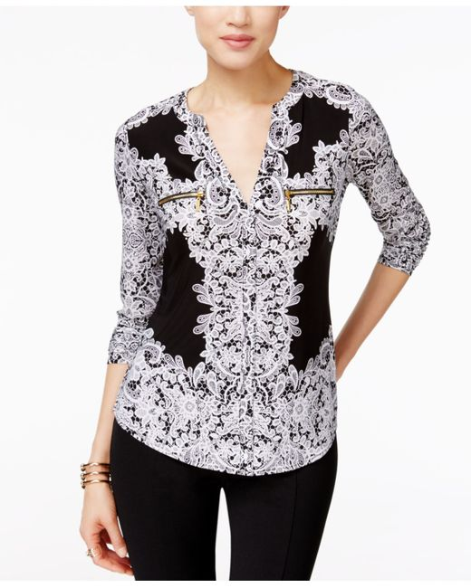 INC International Concepts | Multicolor Petite Printed Zip-pocket Top, Only At Macy's | Lyst