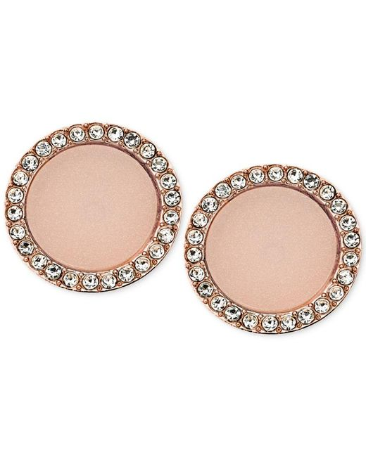 Michael Kors | Pink Stone And Crystal Disc Stud Earrings | Lyst