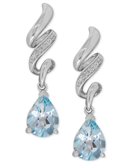 Macy's   Blue Aquamarine (1-7/8 Ct. T.w.) And Diamond Accent Twist Drop Earrings In Sterling Silver   Lyst