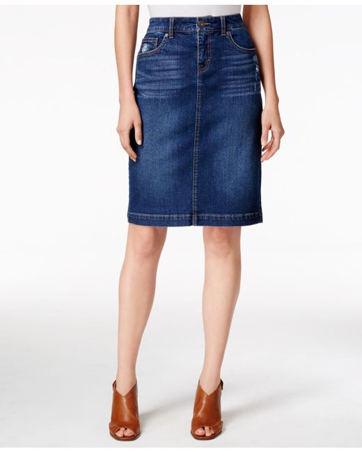 Style Amp Co Denim Tummy Control Pencil Skirt Only At Macy