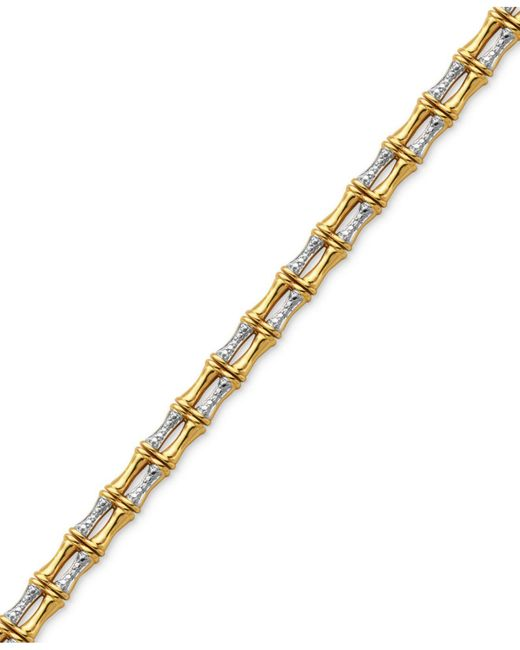 Macy's | Metallic Diamond Accent Bamboo-look Bracelet In 18k Gold Over Silver-plate | Lyst