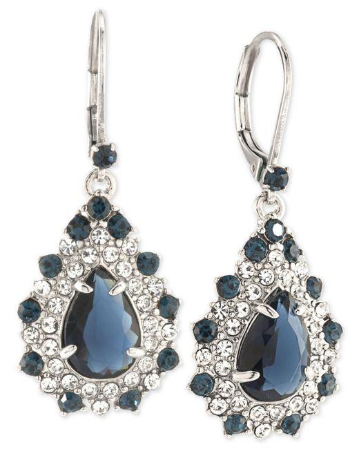 Carolee   Metallic Silver-tone Blue And Clear Crystal Teardrop Cluster Drop Earrings   Lyst