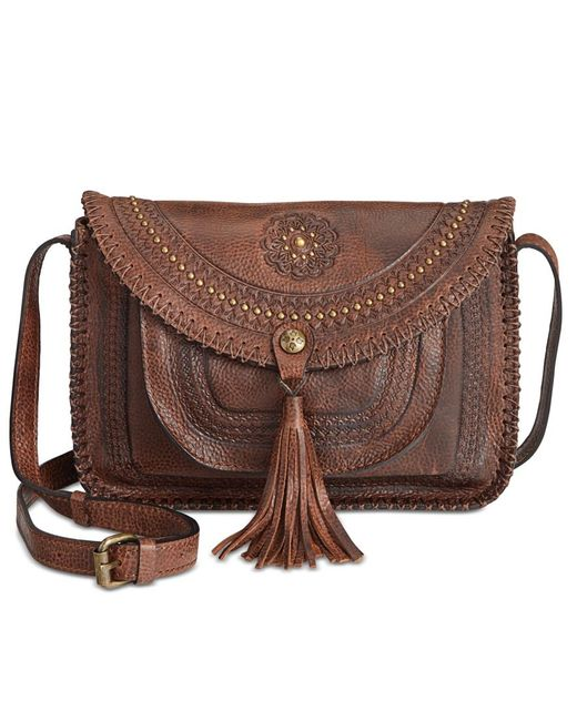 Patricia Nash | Brown Distressed Vintage Beaumont Flap Crossbody | Lyst