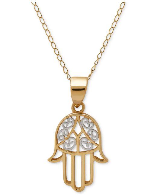 Macy's   Metallic Two-tone Hamsa Pendant Necklace In 10k Gold   Lyst