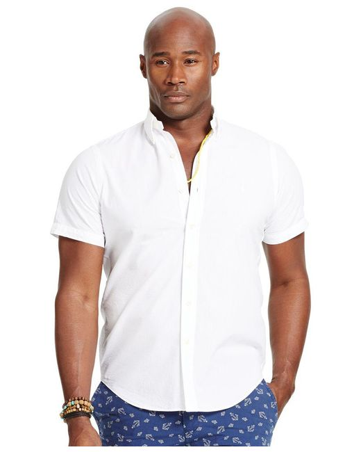 Polo Ralph Lauren | White Men's Big & Tall Check Seersucker Shirt for Men | Lyst