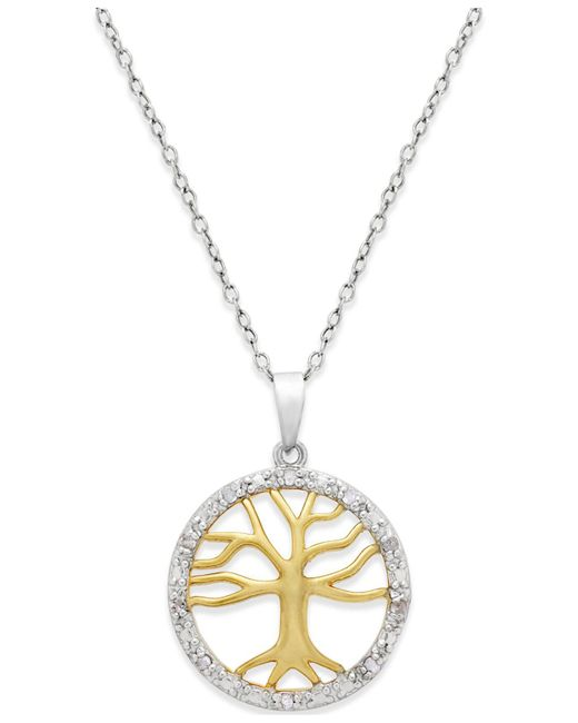 Macy's - Metallic Diamond Tree Of Life Pendant Necklace (1/10 Ct. T.w.) In Sterling Silver And 18k Gold Over Sterling Silver - Lyst