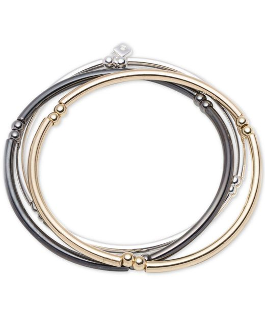 Nine West - Metallic Tri-tone Set Of 3 Stretch Bangle Bracelets - Lyst