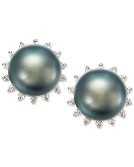Macy's | Blue Tahitian Pearl (8 Mm) And Diamond (1/5 Ct. T.w.) Earrings In 14k White Gold | Lyst