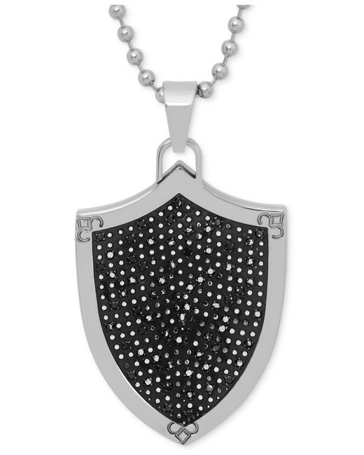 Macy's   Black Men's Diamond Shield Pendant Necklace In Stainless Steel And Rhodium Plate for Men   Lyst