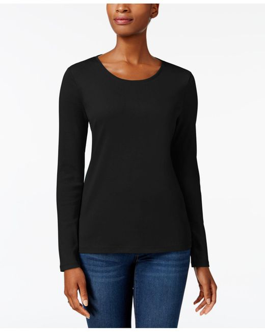Charter Club Black Pima Cotton Long-sleeve Top, Created For Macy's