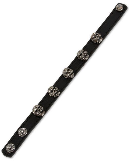 Betsey Johnson | Black Leather Skull Snap Bracelet | Lyst
