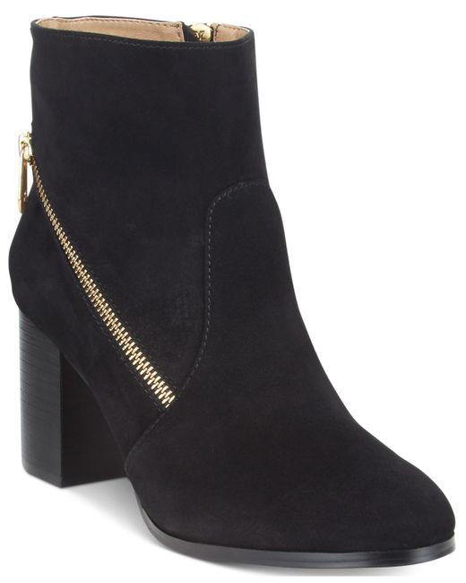 Adrienne Vittadini | Black Bob Side-zipper Block-heel Booties | Lyst