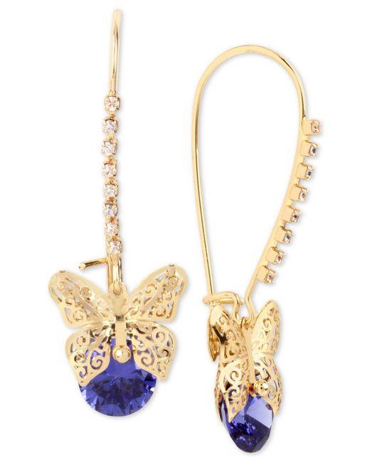 Betsey Johnson | Purple Gold-tone Filigree Butterfly And Stone Drop Earrings | Lyst