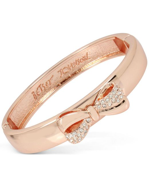 Betsey Johnson | Metallic Rose Gold-tone Pavé Bow Bangle Bracelet | Lyst