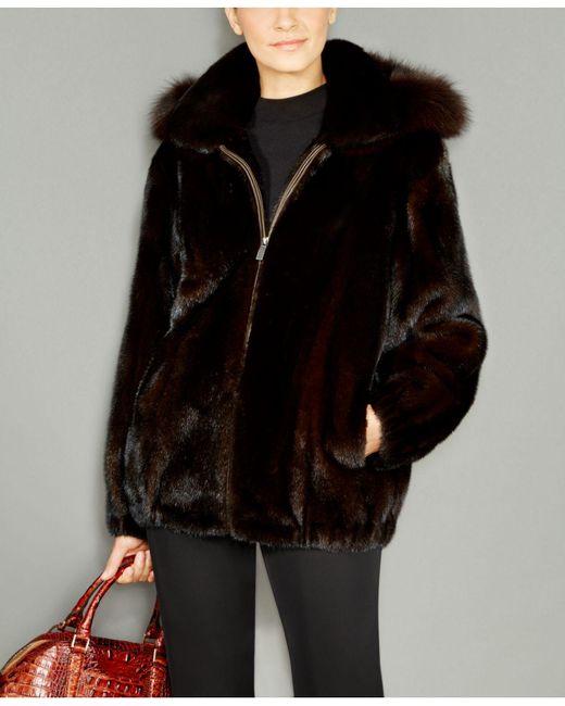 The Fur Vault | Black Fox-fur-trim Hooded Mink Fur Coat | Lyst