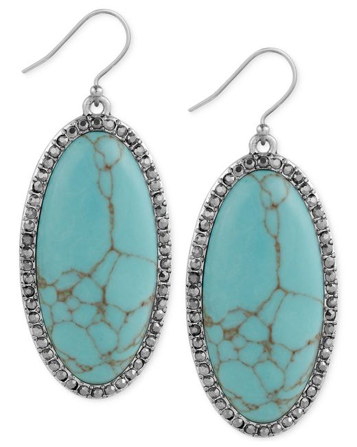 Lucky Brand | Blue Large Oval Stone And Pave Drop Earrings | Lyst