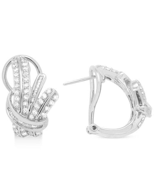 Wrapped in Love | Metallic Diamond Fancy Hoop Earrings (1 Ct. T.w.) In Sterling Silver | Lyst
