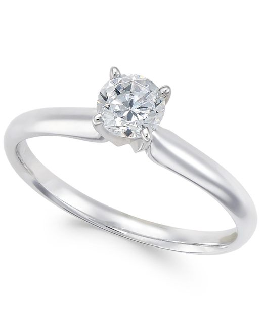 Macy's | Metallic Diamond Solitaire Engagement Ring (1/2 Ct. T.w.) In 18k White Gold | Lyst
