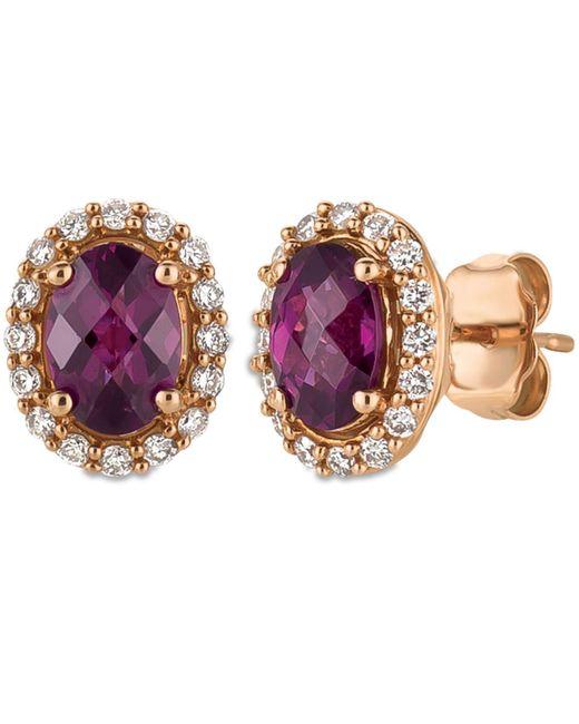 Le Vian | Pink Rhodolite Garnet (1-5/8 Ct. T.w.) And Diamond (1/4 Ct. T.w.) Stud Earrings In 14k Rose Gold | Lyst