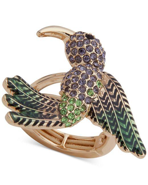 Anne Klein - Metallic Gold-tone Crystal Bird Stretch Ring - Lyst