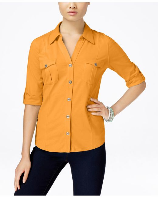 Style & Co. | Yellow Utility Shirt, Only At Macy's | Lyst