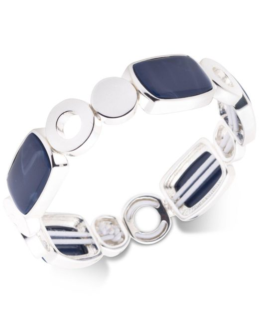 Nine West - Metallic Silver-tone Blue Stone Stretch Bracelet - Lyst