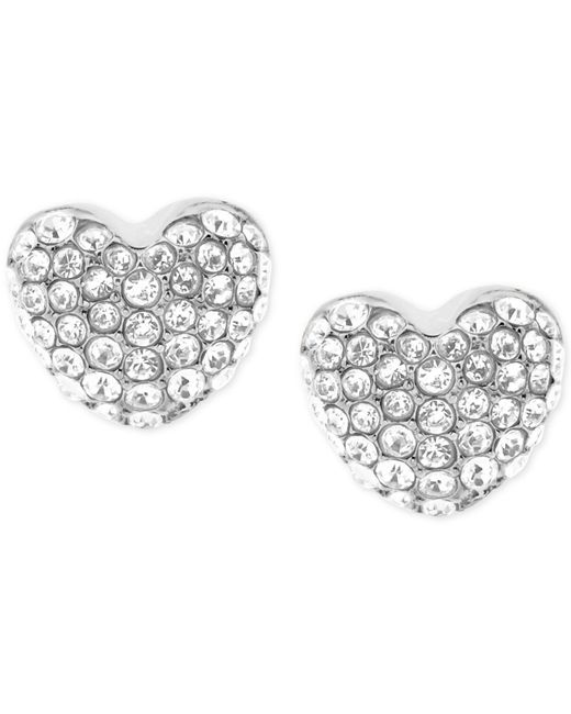 Michael Kors | Metallic Pavé Heart Stud Earrings | Lyst