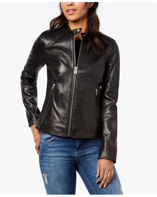 Marc New York - Black Quilted Leather Moto Jacket - Lyst