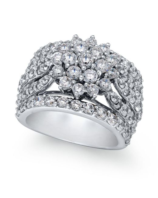 Macy's - Metallic Diamond Wide Floral Cluster Ring (4 Ct. T.w.) In 14k White Gold - Lyst