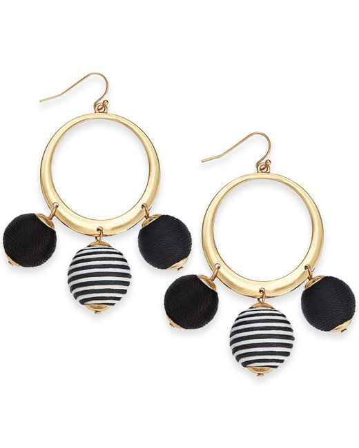 "INC International Concepts - Black I.n.c. Large 2.5"" Gold-tone Wrapped Ball Drop Hoop Earrings, Created For Macy's - Lyst"