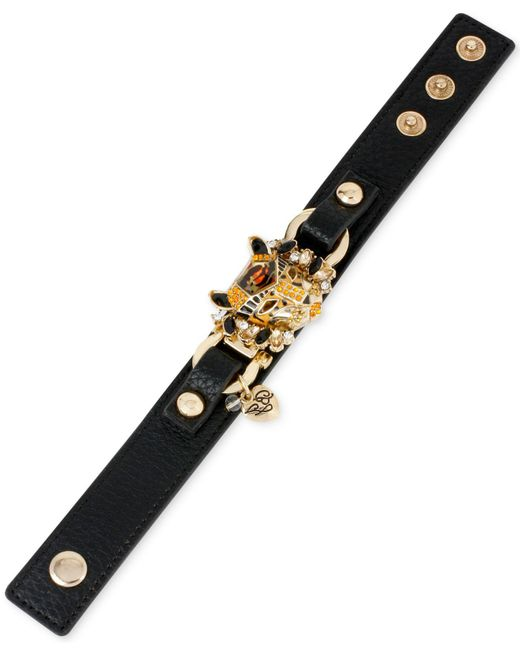 Betsey Johnson | Metallic Gold-tone Faux-leather Leopard Snap Bracelet | Lyst
