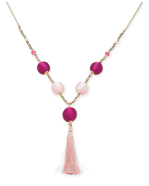 "INC International Concepts - Pink I.n.c. Gold-tone Bead & Wrapped Ball Long Tassel Necklace, 34"" + 3"" Extender, Created For Macy's - Lyst"