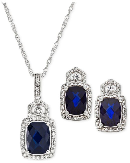 Macy's - Metallic Lab Created Sapphire (3-1/2 Ct. T.w.) & White Sapphire (3/4 Ct. T.w.) Pendant Necklace & Stud Earrings In Sterling Silver - Lyst