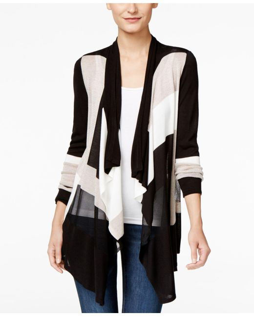 INC International Concepts | Black Petite Draped Colorblocked Cardigan, Only At Macy's | Lyst