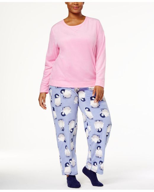 Hue | Pink Plus Size Sueded Fleece Top & Printed Pants With Socks Pajama Set | Lyst