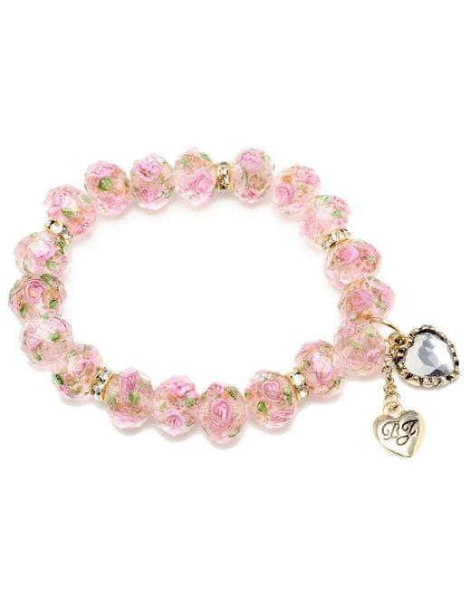 Betsey Johnson - Pink Flower Beaded Stretch Bracelet - Lyst