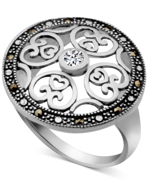 Macy's - Metallic Marcasite & Crystal Openwork Ring In Fine Silver-plate - Lyst