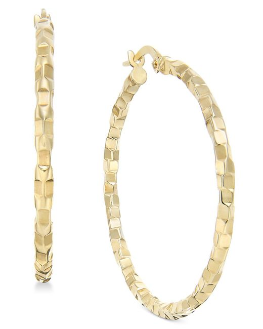 Macy's | Metallic Square Textured Polished Hoop Earrings In 14k Gold | Lyst