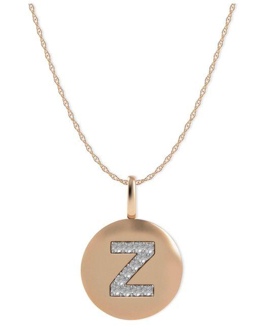 Macy's - Metallic 14k Rose Gold Necklace, Diamond Accent Letter Z Disk Pendant - Lyst