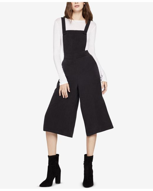 BCBGeneration - Black Cropped Wide-leg Overalls - Lyst