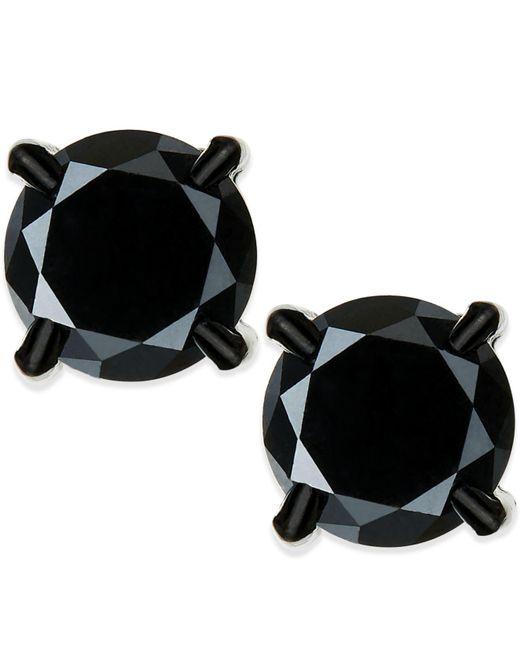 Macy's | Men's Black Diamond Stud Earrings In Stainless Steel (2 Ct. T.w.) | Lyst