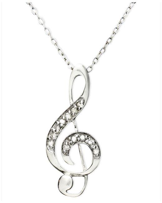 Macy's | Metallic Diamond Pendant, Sterling Silver Diamond Music Note (1/10 Ct. T.w.) | Lyst