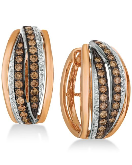 Le Vian - Metallic Chocolatier® Diamond Hoop Earrings (1-1/4 Ct. T.w.) In 14k Rose Gold & White Gold - Lyst