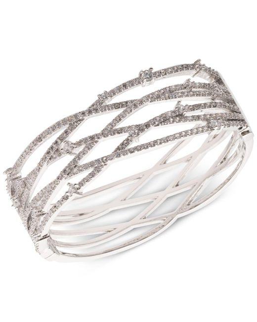Carolee - White Silver-tone Pavé Openwork Cuff Bracelet - Lyst