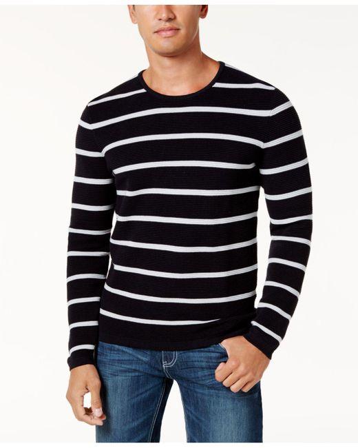 INC International Concepts   Black Men's Textured Striped Sweater for Men   Lyst