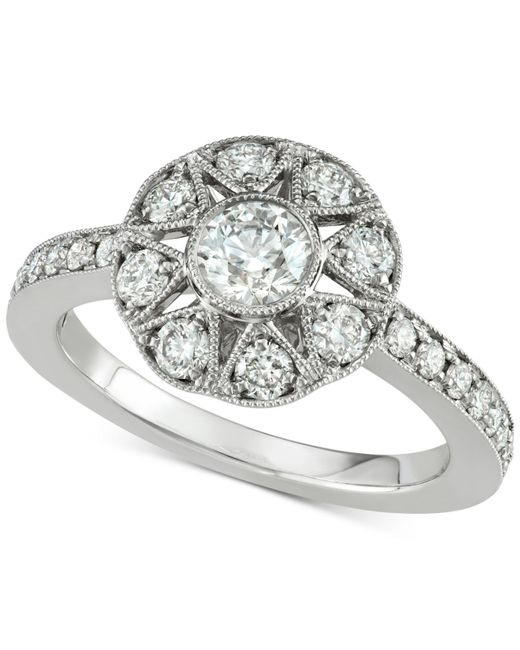 Marchesa - Metallic Diamond Floral Engagement Ring (1 Ct. T.w.) In 18k White Gold - Lyst