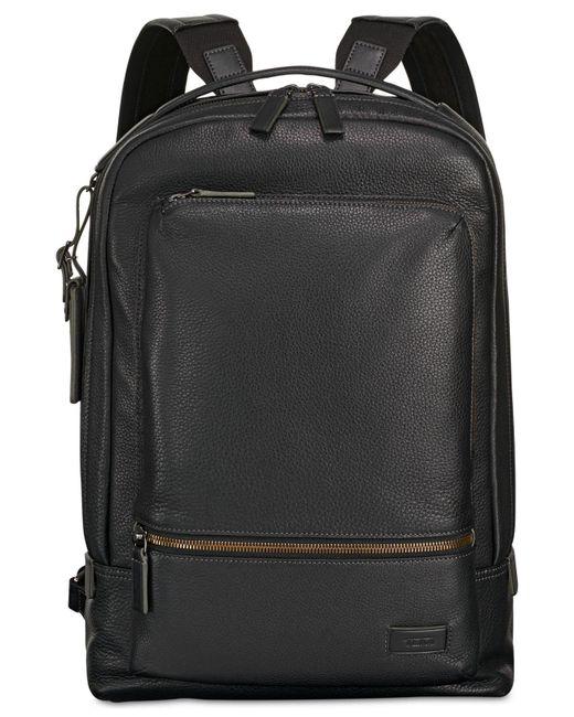 Tumi Harrison Bates Black Leather Backpack for men