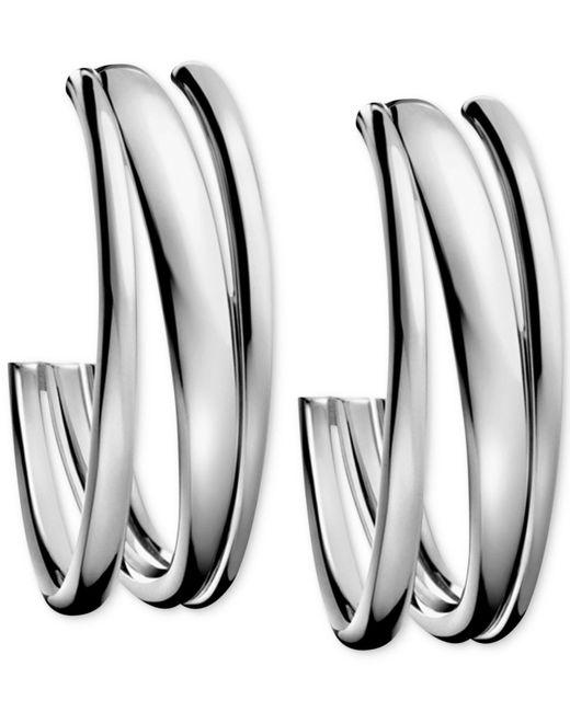 Calvin Klein | Gray Stainless Steel Polished Hoop Earrings | Lyst