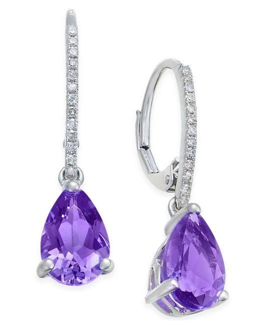 Macy's - Purple Amethyst (2 Ct. T.w.) And Diamond (1/10 Ct. T.w.) Drop Earrings In 14k White Gold - Lyst